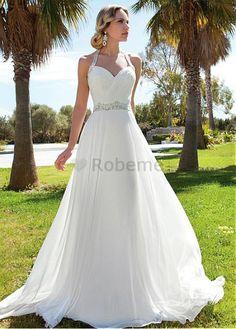 Robe de mariée dos nu traîne courte longueur au ras du sol chiffon naturel