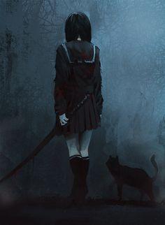 grafika anime, dark, and cat Dark Anime Girl, Anime Art Girl, Anime Boys, Anime Triste, Dark Fantasy Art, Dark Art, Anime Negra, Art Manga, Chica Anime Manga
