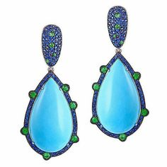 Diamondgirl1975... Turquoise sapphire and emerald earrings by @thalia_exarchou_jewellery
