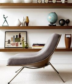 MCM Chair--not quite the womb chair I grew up with, and still long for, but comfy and streamlined.