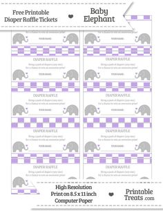 Free Pastel Purple  Checker Pattern Baby Elephant Diaper Raffle Tickets