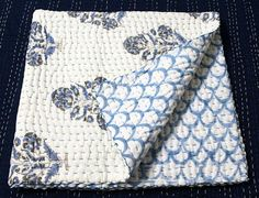 Indian Quilt, Block Print Kantha Quilt, Hand Printed Baby Blanket Throw, Handmade Bed Cover, Hand Stitched Quilt, Soft Cotton Quilt IKQ#153