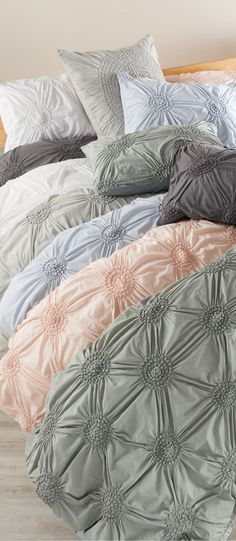 Made from dreamy cotton voile in a choice of versatile solids, a shabby-chic duvet cover is beautifully textured with a gathered and tucked medallion design. Girl Crib Bedding Sets, Girl Cribs, Shabby Chic Duvet, Brick Wall Bedroom, Disney Bedding, Teen Girl Bedrooms, Bed Design, Duvet Covers, Cotton