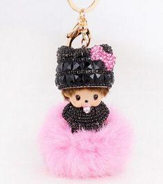 2016 new Popular Cute Inlay crystal dolls 15 color Monchichi KeyChain fur Key  chain Car key ring Women Bag Accessories porte 2d6463e04f8b2