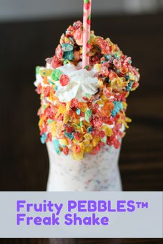 Fruity PEBBLES™ Freak Shake tastes just like eating a bowl of cereal. Uses strawberry ice cream, whipped topping, and those delicious Fruity Pebbles cereal we all know and love. Strawberry Shortcake Ice Cream, Strawberry Milkshake, Cream Puff Recipe, Ice Cream Recipes, Just Desserts, Delicious Desserts, Dessert Recipes, Milkshake Recipes, Milkshakes