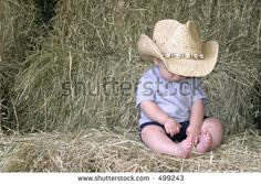 Baby Boy In Cowboy Hat Sitting On Hay Bales Stock Photo 499243 : Shutterstock