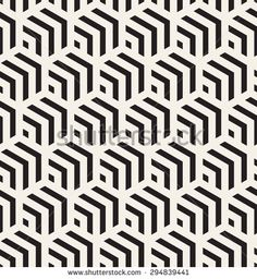 Vector seamless pattern. Modern stylish texture. Repeating geometric tiles with striped hexagons. Hexagonal geometric background. Contemporary graphic design.