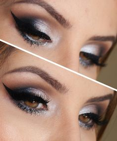 For a night out where drama and sophistication are the watchword, a smoky eye look could be just the thing. It doesn't take a makeup artist to do this, either; here's how to create smoky eyes with the makeup most people have at home. Silver Smokey Eye, Smoky Eye, Dramatic Look, Cosplay Makeup, War Paint, Eye Make Up, Makeup Inspiration, Eyelashes, Beauty Hacks