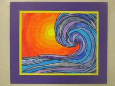 Black Paper, Glue, Oil Pastels - Base lesson on the Great Wave off Kanagawa