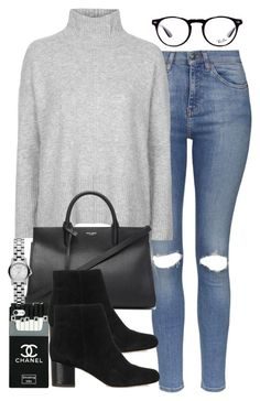 """""""Untitled #3168"""" by hellomissapple ❤ liked on Polyvore featuring Topshop, Ray-Ban, Yves Saint Laurent, Marc by Marc Jacobs and Sam Edelman"""