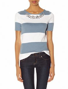 {Embellished Striped Sweater Tee - The Limited - under $50}