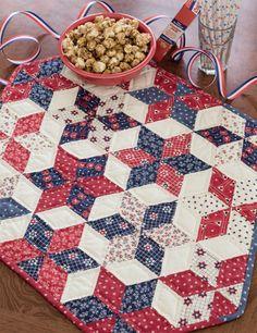 Stars of Freedom quilt - use 60 degree rhombus template. GO TO: Missouri Star Rhombus Cube tutorial