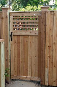 "A Custom Gate with A Square Lattice ""Peek a Boo"" Section Wood Fence Gates, Fence Gate Design, Wooden Garden Gate, Wooden Gates, Fencing, Garden Fences, Diy Backyard Fence, Diy Fence, Fence Ideas"