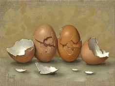 """Cracked Brown Eggs"" - Original Fine Art for Sale - © Clinton Hobart"