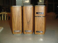 Vintage Faux Wood Metal Beautyware Lincoln Set of 4 Canisters w/Lids | eBay