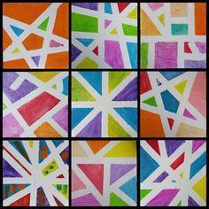 Tape + verf = leuk resultaat Gemaakt door groep 5/6 Art For Kids, Crafts For Kids, Arts And Crafts, Middle School Art, Art School, School Projects, Art Projects, Tape Painting, Elements Of Art