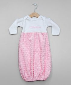 Look at this Princess Linens Layette White & Pink Minky Personalized Gown - Infant on #zulily today!