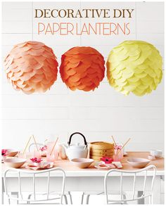 tissue lanterns tutorial: supplies--Tissue-paper circles, 5 inches, in Pastel and Primary, $6 for 480; hyglossproducts.com. Wire-frame spherical paper lanterns, from $3.25 each; pearlriver.com. | Tutorial + DIY via Martha Stewart.com