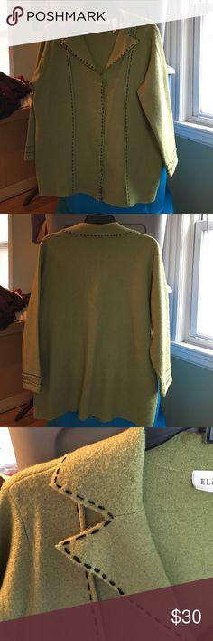 Elisabeth Kiwi and Black Dressy Sweater Elisabeth Kiwi and black stitching Sweater. 100% Wool button closure sweater Elisabeth Sweaters Cardigans