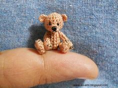 Sweet little Bear 1 Inch, Brown 03064 Micro Miniature Crochet Plush Toy