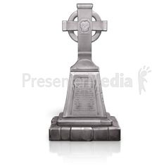An image of a spooky cross/skull gravestone. #powerpoint #clipart #illustrations