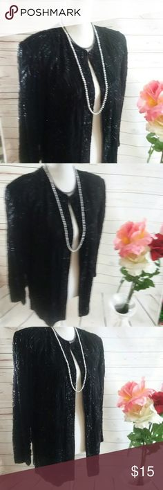 Vintage Black Beaded Ladies Jacket BLAZER Lined PM This is a heavily beaded silk 100% black ladies jacket Blazer. It is lined. Did beads appear to be in great shape I don't see any missing. It is a great vintage peace quite the conversation. It is sold without flaws or stains. brilliante Jackets & Coats Blazers