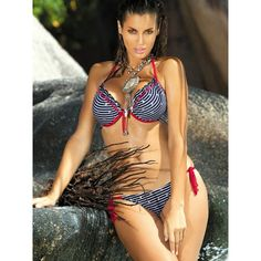 2 piece striped bikini featuring halter neck tie, back tie and tie side bottoms. Padded cups for extra support.