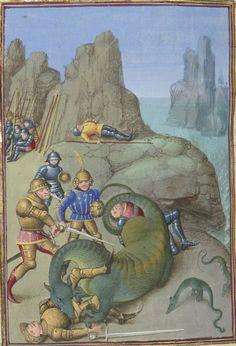 Cato's battle with Libyan serpents. Faits des Romains. Paris, c. 1460-1465. Artist: Maître de Coëtivy, Bibliothèque nationale de France, Département des manuscrits, Français 64, detail of f. 391v