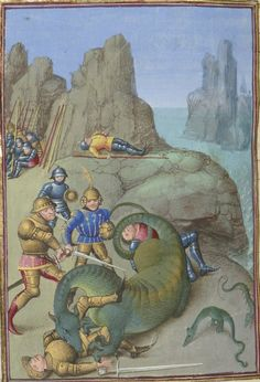 Cato's battle with Libyan serpents. Faits des Romains. Paris, c. 1460-1465. Artist: Maître de Coëtivy, Bibliothèque nationale de France, Département des manuscrits, Français 64, detail of f. 391v