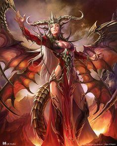 Reign of Dragons,Azi Dahaka by YANCHEN Dragon Fantasy Myth Mythical Mystical Legend Dragons Wings Sword Sorcery Magic Dark Fantasy Art, Fantasy Art Women, Anime Fantasy, Fantasy Girl, Fantasy Artwork, Demon Dragon, Dragon Girl, Dragon Lady, Female Demons