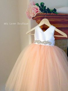 Blush, Peach, Coral, Mint, Tiffany, Grey, Black, Ivory Flower Girl Dress / Special occasion dress / Rhinestone Sash / CHOOSE your color