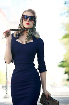 Discover this look wearing Navy Pinup Girl Clothing Dresses, Light Brown Silk Vintage Scarves - Daytime Chic by ChicagoChic styled for Museum Outing in the Spring