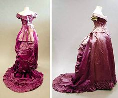 Had Hermione Granger lived in the nineteenth century, I think she would have worn this beauty to the Yule Ball!  Cerise pink satin ball gown, ca. 1880, with long, low bodice and trained skirt. Kerry Taylor Auctions/LiveAuctioneers