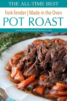 An easy recipe for fork-tender pot roast made in the oven. The recipe features beef chuck shoulder braised in beef broth and red wine, with carrots, onions and fresh herbs. #potroast #roastbeefrecipe #bestpotroast #forktenderpotroast #fallrecipes #comfortfood #beefrecipes #dinnerideas #sundaysupper #theanthonykitchen