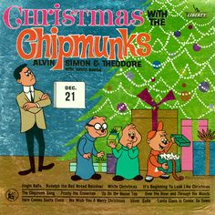 Vintage Christmas Record Album ~ Christmas With The Chipmunks, 1962.