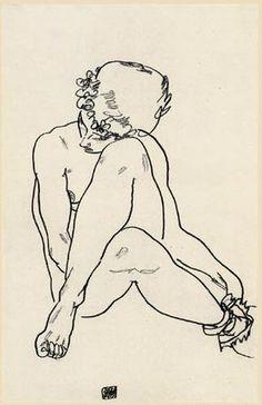 Egon Schiele, Sedentary act with crossed legs