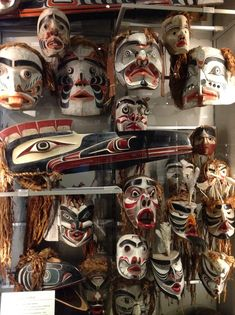 Kwakwakawakw masks, Vancouver Museum of Anthropology Chief Harry mountains masks from village island.