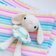 Handmade crochet bunny with mint blue tutu and striped Sophia Blanket with scalloped edging. ETSY SHOP: DiorLauryn