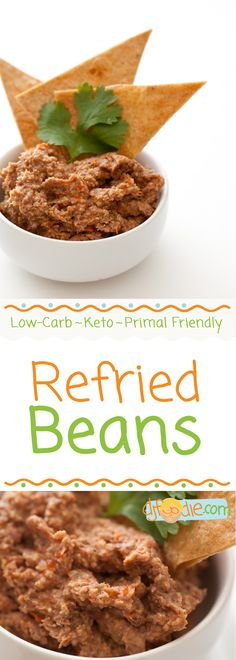 Servings: 6 Prep: 10 min Cook: 30 min Total: 40 min These 'refried' beans taste . like refried beans! I don't know why I resisted these black soy beans for Low Carb Keto, Low Carb Recipes, Diet Recipes, Lchf Diet, Ketogenic Diet, Dairy Free, Gluten Free, Food Mills, Low Carb Tortillas