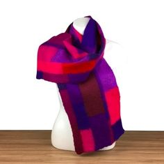 Felted patchwork scarf in shades of red, blue, pink and purple £50.00