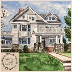 Custom painting of home. Watercolor house portraits. Watercolor Artwork, Watercolor Portraits, First Home Gifts, Realtor Gifts, House Drawing, Hand Sketch, Custom Paint, Custom Homes, That Way
