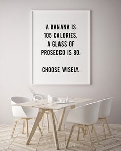 Banana Calories Prosecco Glass Choose Wisely Funny Typographic