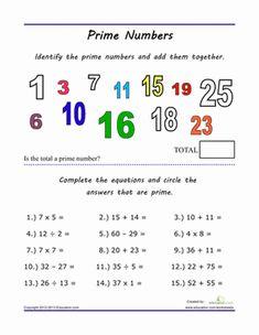 Fourth Grade Math Worksheets: Finding Prime Numbers Prime And Composite Numbers, Prime Numbers, Fifth Grade Math, Fourth Grade, Number Worksheets, Worksheets For Kids, Teaching Tips, Teaching Math, Math Teacher