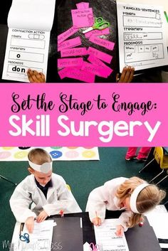 Your Skill Surgeons will love these hands-on activities for Skill Review. This unit includes 4 surgical activities for your surgeons to perform *cutting and sewing together contractions,  *stitching up mixed up sentences and extracting the extra word * pr
