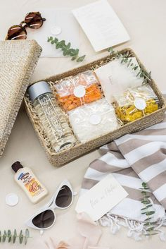 WEDDING WELCOME GIFTS// Soft and neutral beach destination wedding welcome baskets, best curated gifts this year by Marigold & Grey. Wedding Welcome Baskets, Wedding Welcome Gifts, Destination Wedding Welcome Bag, Beach Wedding Favors, Destination Weddings, Summer Wedding, Diy Wedding, Wedding Ideas, Bridesmaid Gifts From Bride