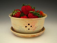Ceramic Berry Bowl in Country White Rustic by DirtKickerPottery. $38.00, via Etsy.