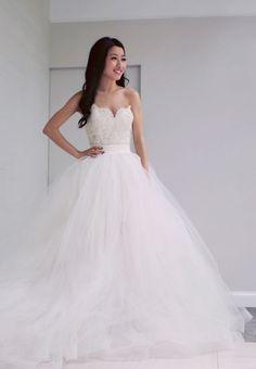 Robe de mariée en tulle coupe princesse