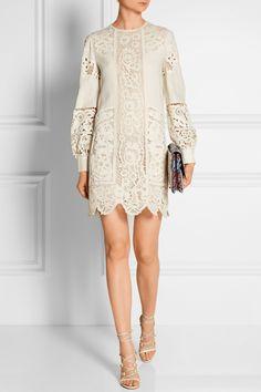 Valentino|Broderie anglaise linen mini dress|NET-A-PORTER.COM