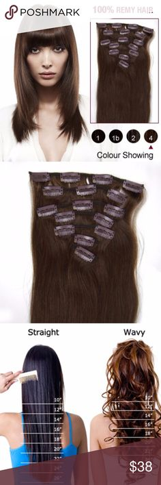 """16"""" MEDIUM BROWN(#4) 10PCS CLIP IN  HUMAN HAIR Type : Brazilian Remy Hair Color : 4 Length : 16 Inch Quantity : 10 pieces Weight : 70g Texture : Straight Material : 100% Remy Human Hair  Package Contents  One 8"""" (20cm) wide wefts - 4 clips per weft  Two 6"""" (15cm) wide wefts - 3 clips per weft  Two 4"""" (10cm) wide wefts - 2 clips per weft  Two 2"""" (5cm) wide wefts - 1 clip per weft Accessories"""