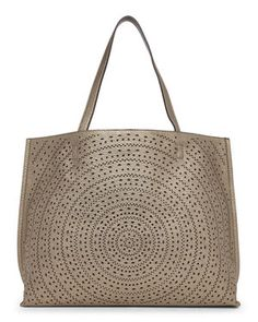 Pewter & Grey Perforated Reversible Tote